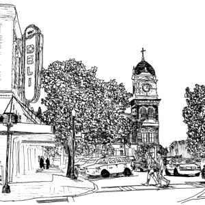 Ink drawing of Covington, Georgia
