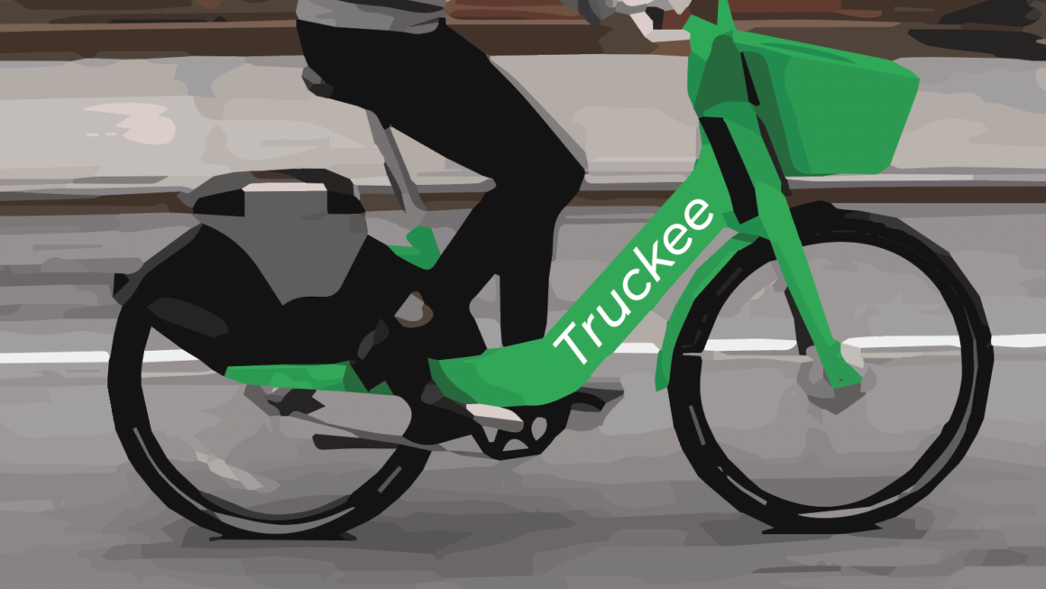 """A poorly doctored image of a JUMP e-bike branded as """"Truckee"""""""
